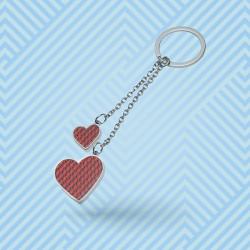 Porte-clé cœurs métal