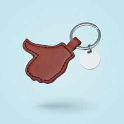 Porte-clé métal et simili-cuir
