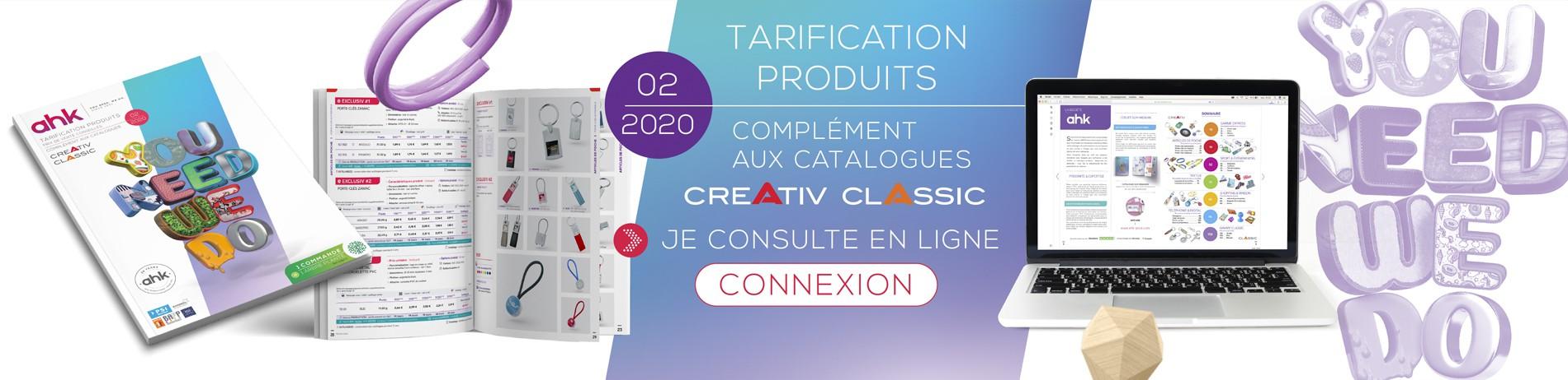 Tarification produits - Complément aux catalogues Creativ & Classic